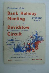 1954 MOTOR RACING PROGRAMME @ DAVIDSTOW , CORNWALL