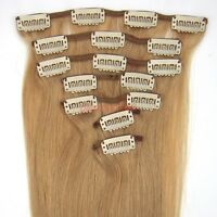 """15""""18""""20""""22"""" 7PCS Clip In Remy Human Hair Extension Straight #27 Dark Blonde 70g"""
