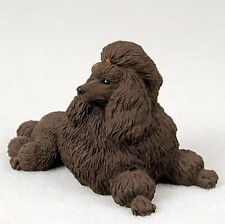 Poodle Figurine Hand Painted Statue Chocolate