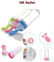 Baby Silicone Squeeze Feeding Bottle With Spoon Food Rice Travel Bottle 90ML 4+