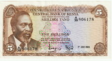 "Kenya 5 Shillings 1.7.1969 Nice Choice Extra Fine Condition,Pick#6-A""President"""