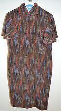 VTG 1960s Cheong-sam Silk Brown Blue Red Multi-Color Geometric Print Dress M
