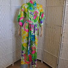 Vtg Long Bright Floral Mod Dress Zip High Neck Colorful Hippy Hawaiian with Belt