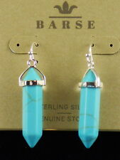 Barse Sterling Silver Turquoise Magnasite Stone Spike Drop Earrings EARR5727MAGS
