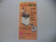 advertising Pubblicità 1960 LAVATRICE HOOVERMATIC HOOVER