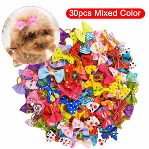 30pcs Dog Hair Bows Rubber Band Pet Cat Dog Puppy Headdress Grooming Accessories