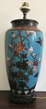 vase cloisonné a décor de fleurs de cerisiers et moineaux Japon Début du XXeme