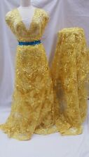 Yellow Embroidered Lace Floral flowers Fabric By The Yard Fashion Dress Scallope