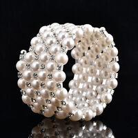 Multi Rows Crystal Cubic Zircon Silver Pearl Bracelet Simulated Rhinestone CZ
