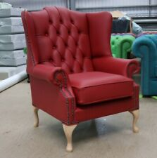 CHESTERFIELD BLOOMSBURY BUTTONED HIGH BACK WING CHAIR CHERRY RED LEATHER