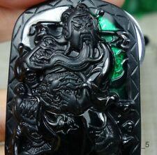 Certified Black Green 100% Natural A jadeite Jade Pendant~Guan Gong 墨翠 关公