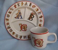 Tiffany & Co. Child's Cup and Plate Set Alphabet Bear Made In Japan 1994