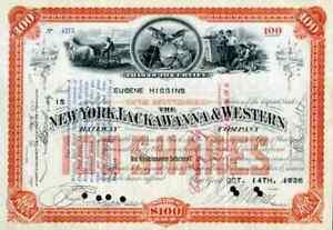 1926 New York Lackawanna & Western Stock Certificate