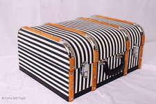 """Vintage! Koffer Oldtimerkoffer Holzkoffer Holzleisten 2 Größen """"L"""" Halbrund"""