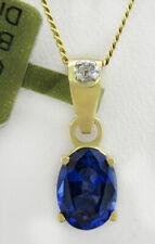 GENUINE 1.20 Cts BLUE SAPPHIRE & DIAMONDS PENDANT 10k GOLD * FreeCertificate *
