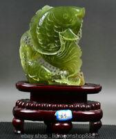 Chinois 100% Vert Xiu JADE JADEITE SCULPTE poisson carpe année Lucky sculpture