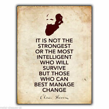 "METAL SIGN WALL PLAQUE Charles Darwin ""IT IS NOT THE STRONGEST"" Quote art print"