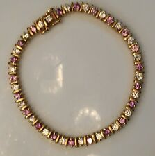 "steling silver 925 gold tone signed FAS bracelet 15 grams 7"" long Purple&clear"