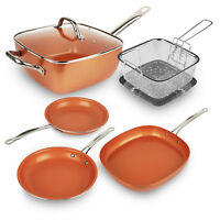 Healthy Non Stick Copper Induction Bottom Frying Pan Kitchen Cookware - US