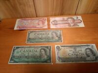 Canada  paper money lot of  5 two & one dollar bills in sleeves