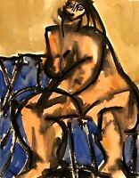 RALPH DUBIN 1919-1988 CUBIST MODERNIST NUDE PORTRAIT PAINTING NEW YORK CITY