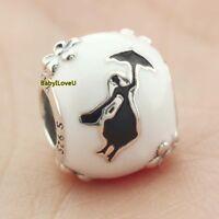 925 Sterling Silver Disne Mary Poppins' Silhouette Charm White Black Enamel Bead