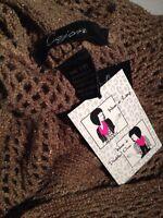 Womens Metallic Fishnet Knit Infinity Scarf Cejon C49134 Stone