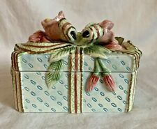Fitz and Floyd Lidded Trinket Box Green Bow with Pink Flowers