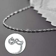 Fashion Women Girl 18″ Solid 925 Sterling Silver Strong Rope Chain Necklace DH
