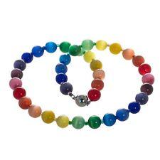 Regenbogen Kette Collier Katzenaugen Glasperlen Perlen Aura Chakra Perlenkette