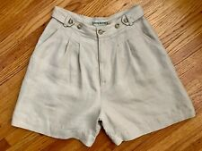 Banana Republic 100% Linen Shorts 4 S Beige Adjustable Button Waist Pocket Pleat