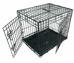 Ellie-Bo Dog Puppy Cage  24 inch Black Folding 2 Door Crate with Non-Chew tray