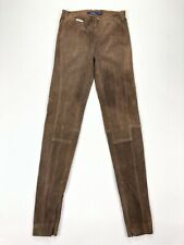 Ralph Lauren Polo Women's Skinny Leather Pull On Pants Suede Brown • XS