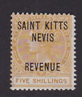 St Kitts & Nevis. 5/- Revenue stamp. Unmounted mint.