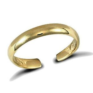 9ct Gold Solid Toe Ring Plain Band Adjustable Made in the UK Erin Rose Jewel Co