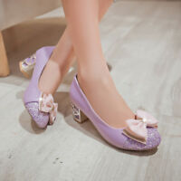 WomenS Cute Low Mid Heel Shoes Bow Round Toe Mary Jane Pumps Lolita Size Work OL