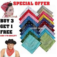 Paisley Bandana Head Wear Hair Band Scarf Neck Wrist Wrap Cow Boy 100% Cotton