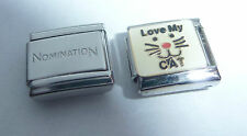 LOVE MY CAT 9mm Italian Charm + 1x Genuine Nomination Classic Link I Kitten Face