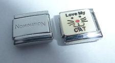 LOVE MY CAT 9mm Italian Charm + 1x Genuine Nomination Classic Link I Kitten Face