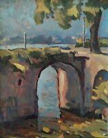 Emilio Pedrazzi, Quadro Paesaggio impressionista dipinto olio su cartone XX sec.