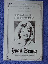 Growing Up In Hollywood - Ocean County Playbill - April 1989 - Joan Benny