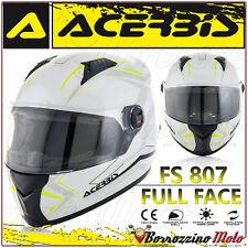 CASO INTEGRALE ACERBIS FS-807 MOTO SCOOTER FULL FACE BIANCO GIALLO TAGLIA S