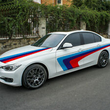 Tricolor Vinyl Racing Stripe Car Sticker Auto Waist Line Decal Emblem For BMW