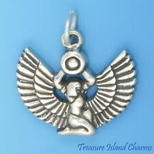 Egyptian Goddess Isis Winged Egypt 925 Solid Sterling Silver Charm Pendant