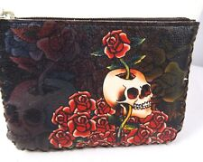 """Womens Coin Purse Pouch Wallet hand Stitched Keyring Brown Skull Roses 5 x 3.5"""""""