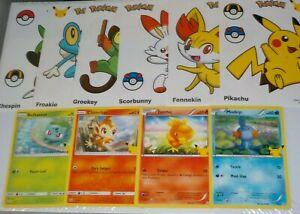 2021 McDonalds Pokemon Cards Bulbasaur, Chimchar, Torchic, Mudkip + 6 Stickers