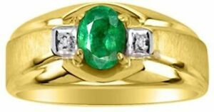 Natural Emerald Gemstone with Gold Plated 925 Sterling Silver Ring for Men AJ756