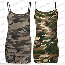 Ladies Women's Camouflage Cami Spaghetti Sleeveless Vest Top Plus Sizes SM-XXL