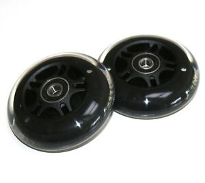 80mm SCOOTER BLACK REAR BACK WHEELS 608RS BEARINGS COMPATIBLE WITH MAXI MICRO