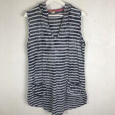 Akini Hooded Shirt Dress Size Large Front Pockets Striped Stretchy Sleeveless